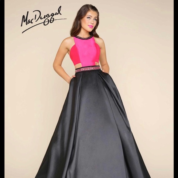 bce311681814 Mac Duggal Dresses | Hot Pink Black Formal With Cut Outs | Poshmark